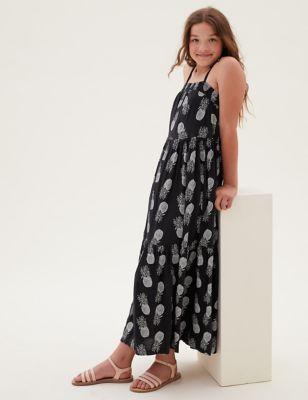 Pineapple Print Tiered Maxi Dress (6-16 Yrs)