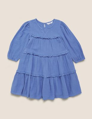 Pure Cotton Tiered Dress (6-16 Yrs)