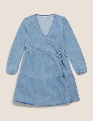 Denim Tiered Wrap Dress (6-14 Yrs)