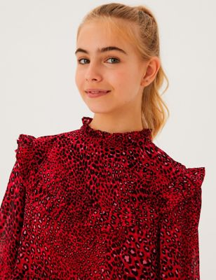 Animal Print Tiered Frill Dress (6-16 Yrs)