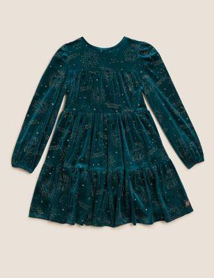 Harry Potter™ Velvet Glitter Dress (2-16 Yrs)