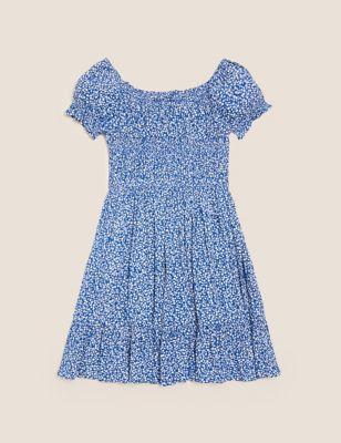 Floral Shirred Dress (6-16 Yrs)