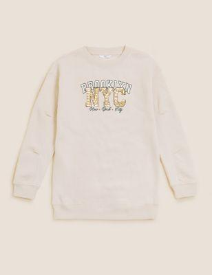 Cotton Sequin NYC Slogan Dress (6-16 Yrs)