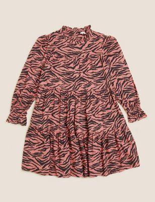 Animal Print Tiered Dress (6-16 Yrs)
