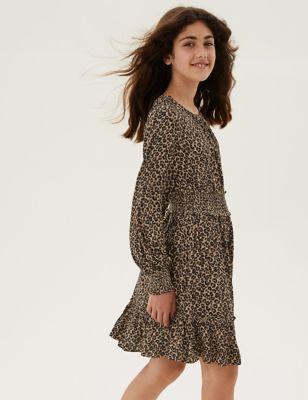 Leopard Spot Print Shirred Dress (6-16 Yrs)