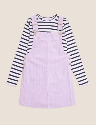2pc Cotton Striped Pinafore Outfit (6-16 Yrs)