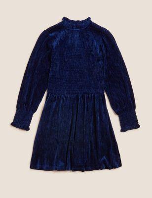 Velvet Tiered Dress (6-16 Yrs)