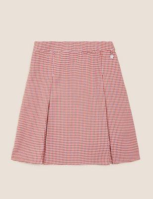 Girls' Easy to Iron Gingham School Skirt (2-14 Yrs)