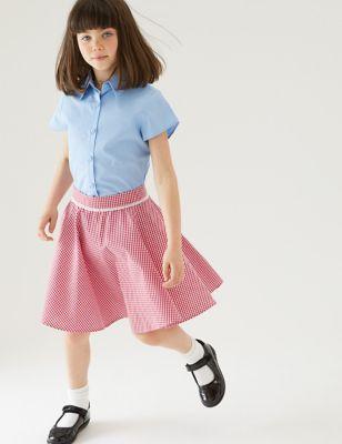 Girls' Pure Cotton Gingham Skater School Skirt