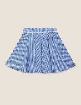 Girls' Pure Cotton Gingham Skater School Skirt (2-14 Yrs)