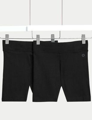 2pk Girls' Cotton with Stretch School Shorts (2-16 Yrs)