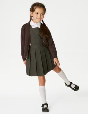 2pk Girls' Pure Cotton School Cardigan (3-18 Yrs)