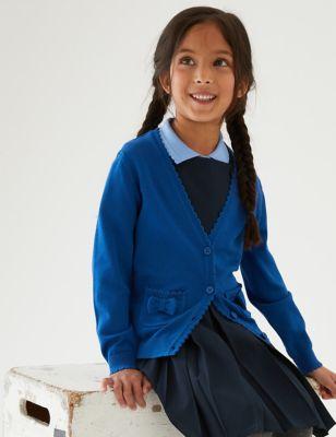 Girls' Pure Cotton Bow Pocket School Cardigan (3-18 Yrs)