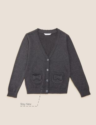 Girls' Pure Cotton Bow Pocket School Cardigan