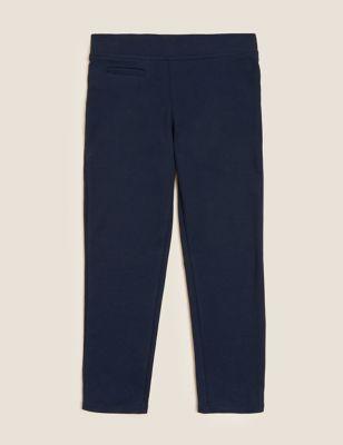 Girls' Slim Leg Knitted School Trousers (2-18 Yrs)
