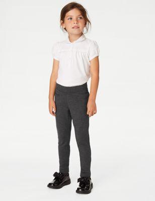 Girls' Skinny Leg Knitted School Trousers (2-18 Yrs)