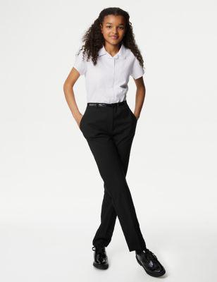 Girls' Skinny Leg Belted School Trousers (2-18 Yrs)