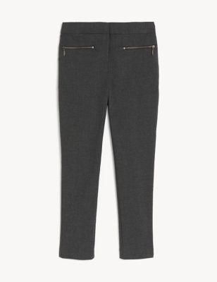 Girls' Super Skinny Zip School Trousers (2-18 Yrs)