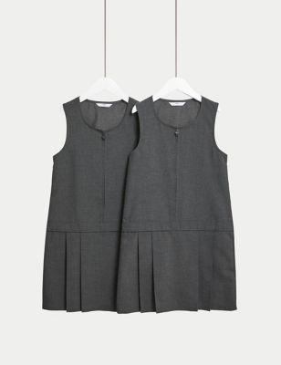2pk Girls' Crease Resistant School Pinafores