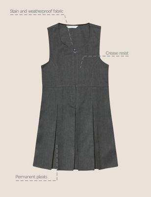 Girls' Plus Fit Pleated School Pinafore (2-12 Yrs)