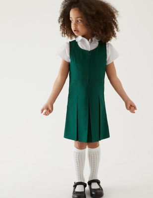 Girls' Permanent Pleats School Pinafore (2-12 Yrs)