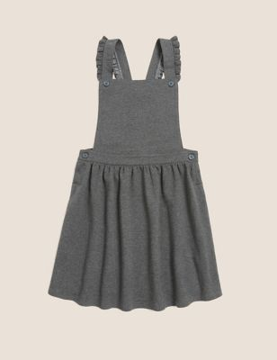 Girls' Cotton Frilled School Pinafore (2-12 Yrs)