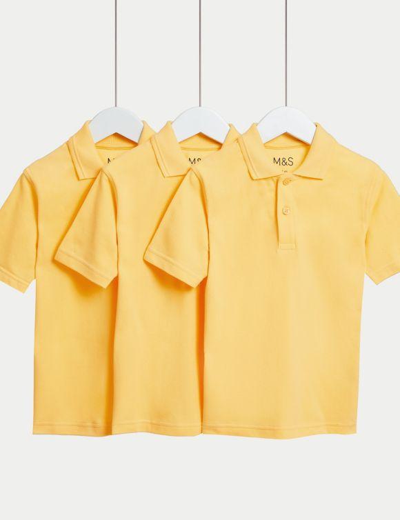 3pk Unisex Pure Cotton School Polo Shirts (2-16 Yrs)