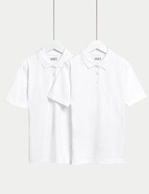 2pk Girls' Stain Resist School Polo Shirts (2-16 Yrs)