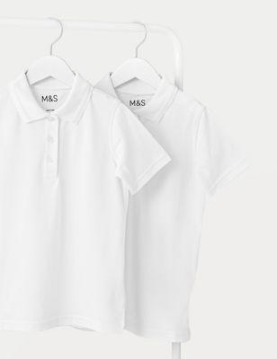 2pk Girls' Slim Fit School Polo Shirts (2-16 Yrs)