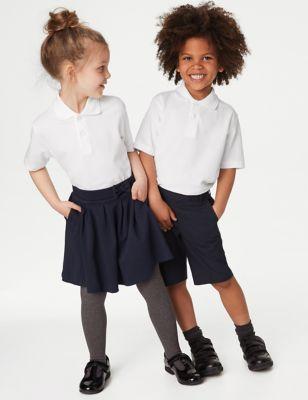 5pk Unisex Pure Cotton School Polo Shirts (2-18 Yrs)