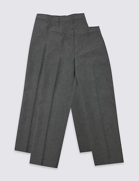2 Pack Boys' Regular Leg Trousers