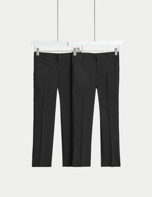 2pk Boys' Slim Leg School Trousers (2-18 Yrs)