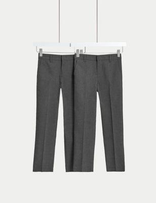 Boys' 2pk Slim Leg School Trousers (2-18 Yrs)