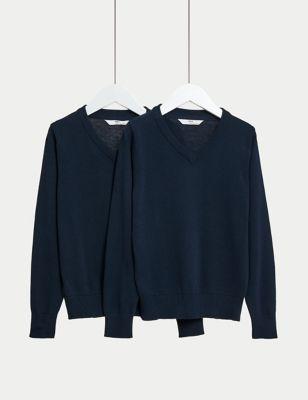 2pk Unisex Slim Fit Cotton School Jumpers (3-18 Yrs)