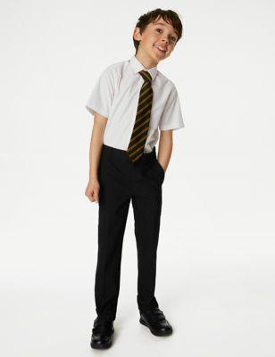 Boys' Regular Leg Slim Fit School Trousers (2-18 Yrs)