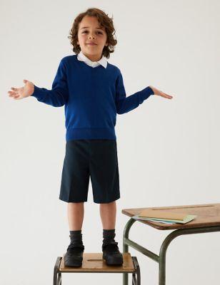 2pk Boys' Slim Leg School Shorts (2-14 Yrs)