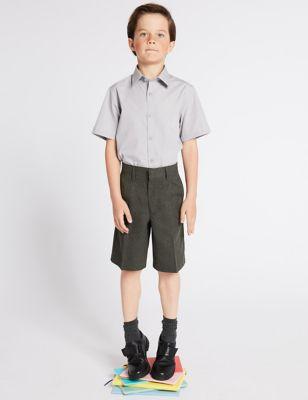 Boys' Regular Leg Pleat Front School Shorts (2-14 Yrs)