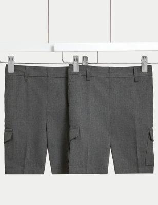 2pk Boys' Regular Leg Cargo School Shorts