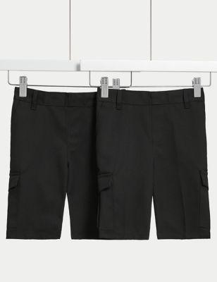 2pk Boys' Regular Leg Cargo School Shorts (2-14 Yrs)