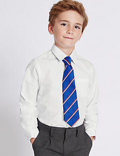 T76/5759: 2 Pack Boys Slim Fit Pure Cotton Non-Iron Shirts