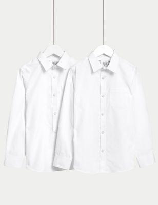 2pk Boys' Cotton Slim Fit School Shirts (2-18 Yrs)
