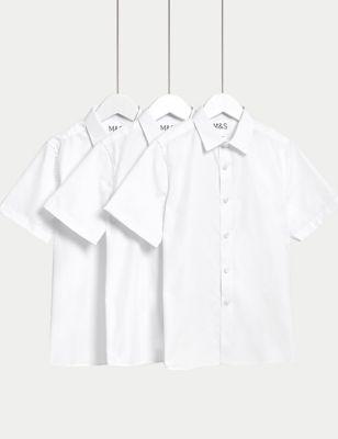3pk Boys' Longer Length Easy Iron School Shirts (4-18 Yrs)