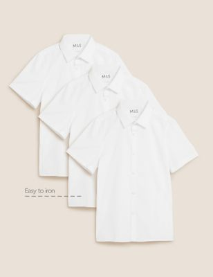 3pk Boys' Slim Easy Iron School Shirts (2-16 Yrs)