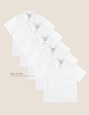 Boys' 5pk Regular Fit Easy to Iron School Shirts (2-18 Yrs)