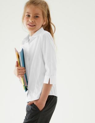 2pk Girls' 3/4 Sleeve Easy Iron School Shirts (2-16 Yrs)