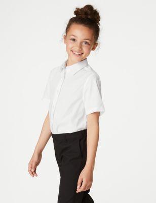 3pk Girls' Longer Length Easy Iron School Shirts (4-18 Yrs)