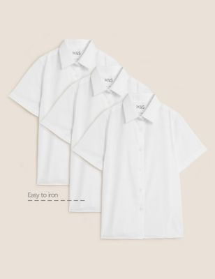 3pk Girls' Plus Fit Easy Iron School Shirts (4-18 Yrs)