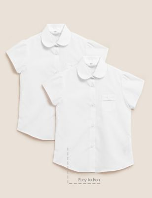 2pk Regular Fit Easy To Iron School Shirts (2-14 Yrs)