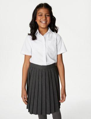 2pk Girls' Pure Cotton School Shirts (2-18 Yrs)