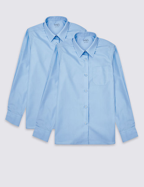 2 Pack Girls' Slim Fit Non-Iron Blouses